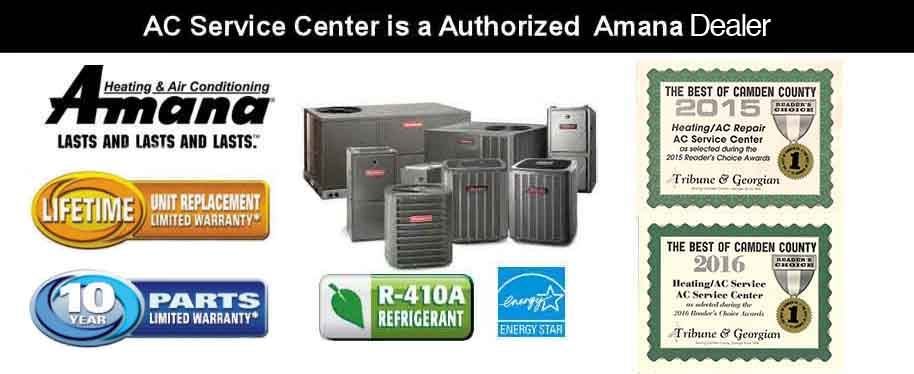 AC service center is an authorized dealer of Goodman and Amana Air Conditioner units in Woodbine GA